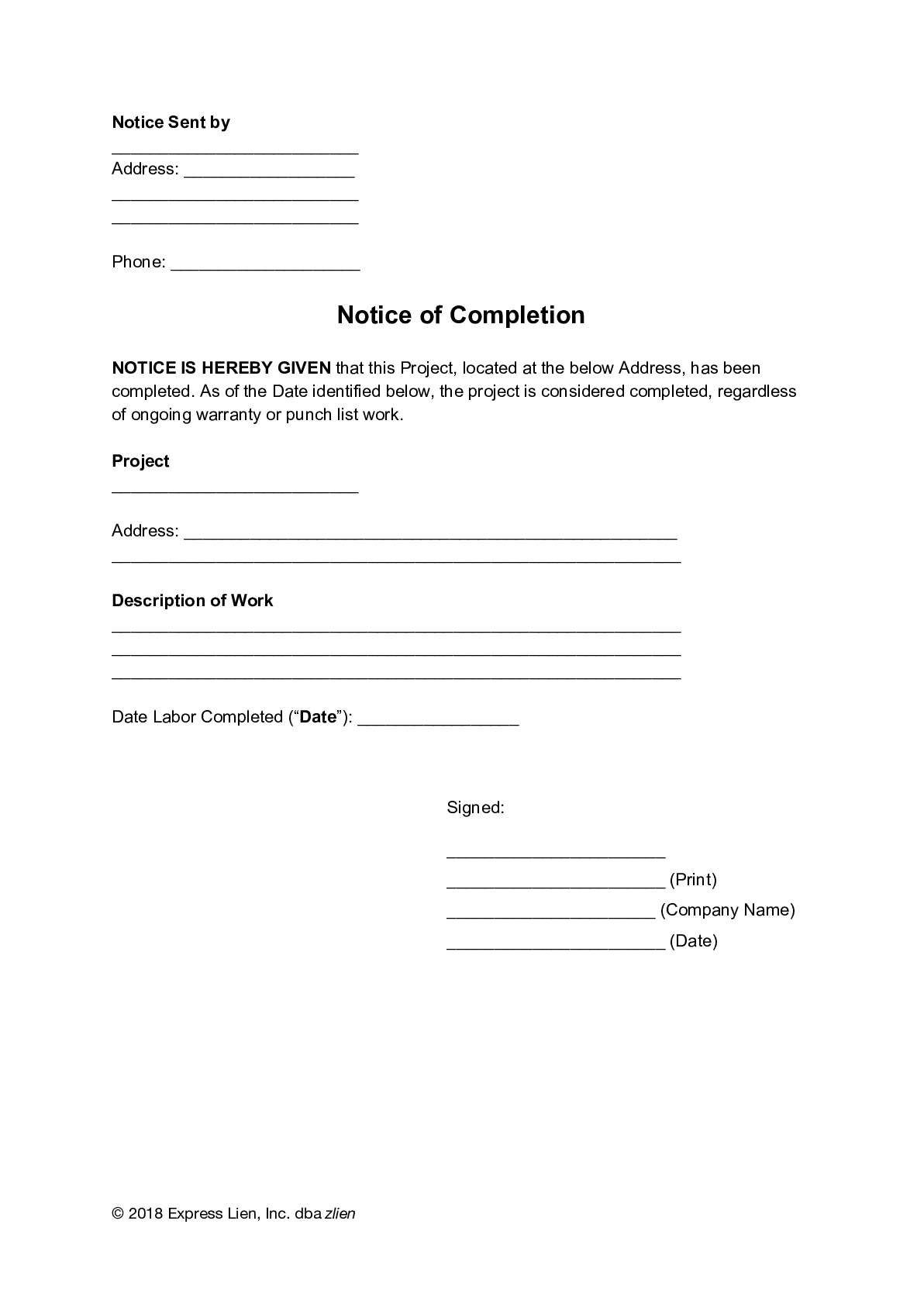 Notice of Completion (General) Form