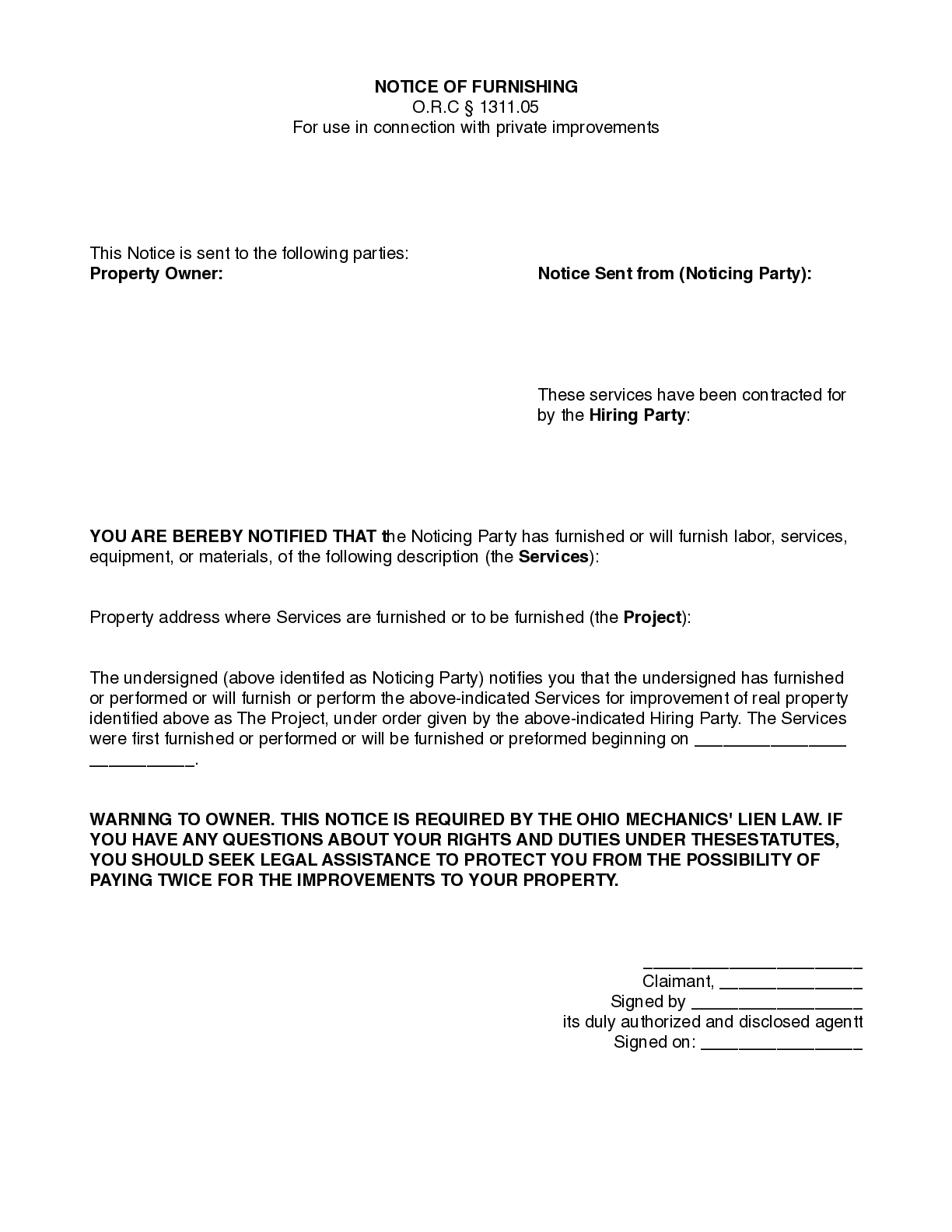 Ohio Notice of Furnishing Form (private projects)