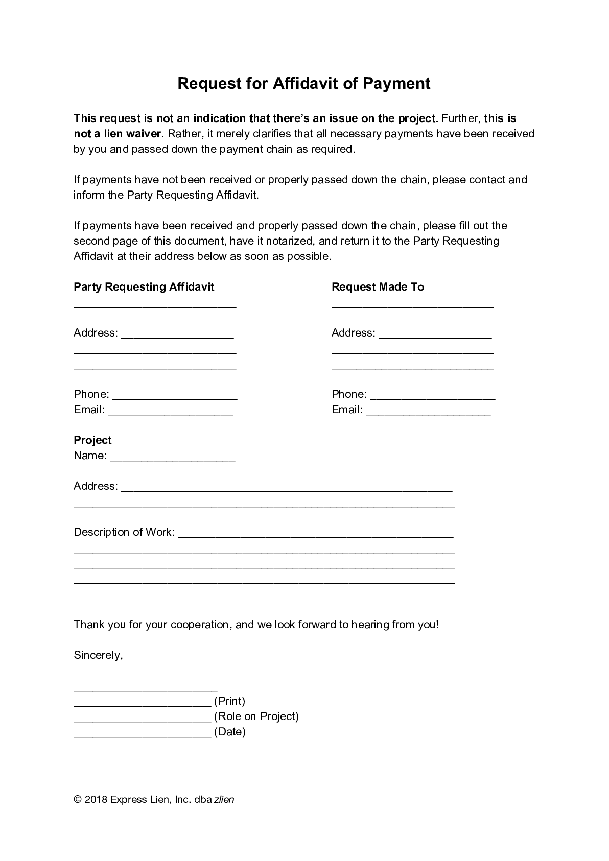 Request for Affidavit of Payment (General) Form