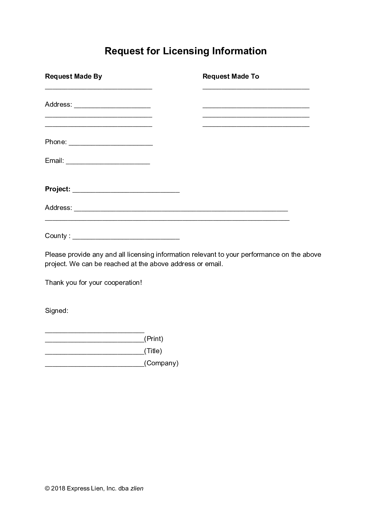 Request for Licensing Information Form