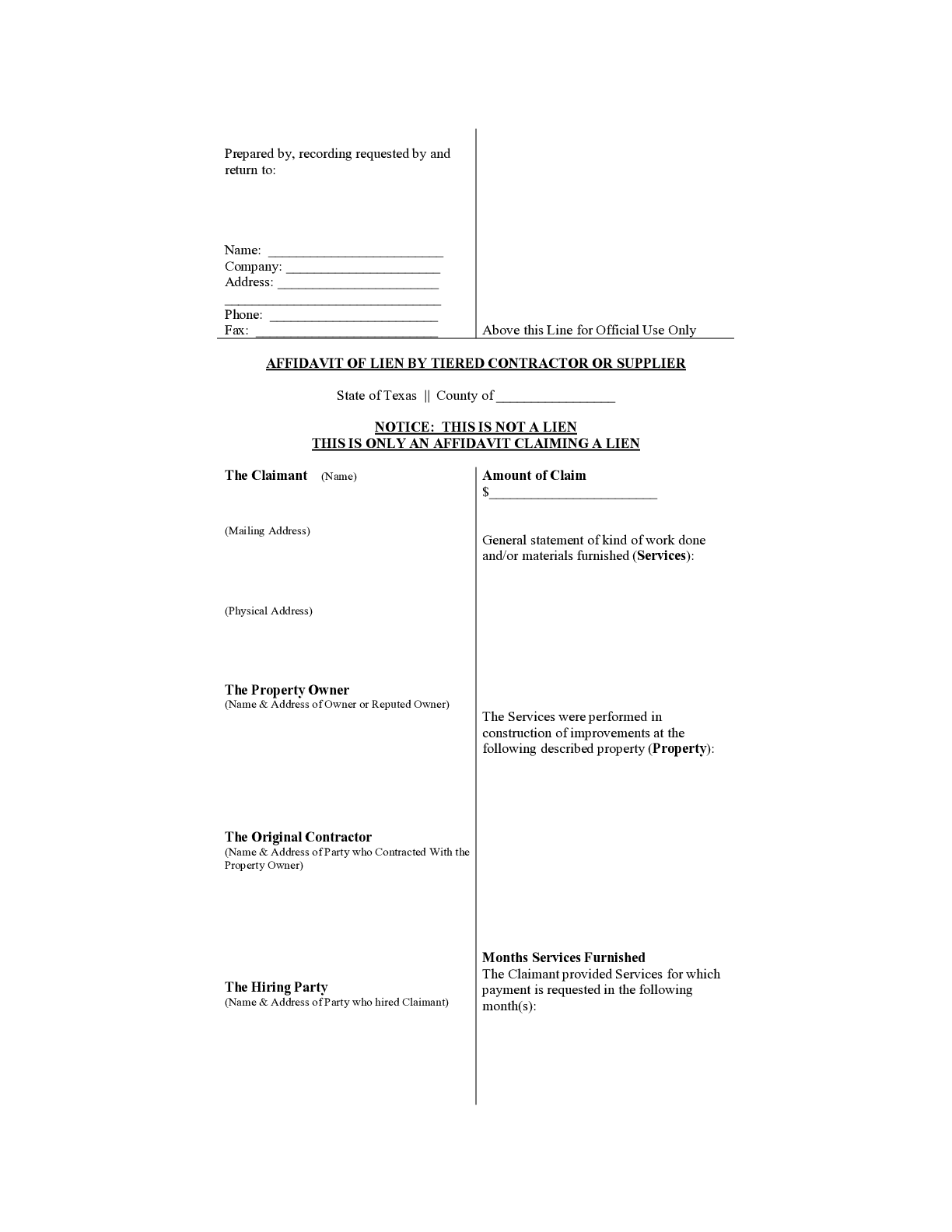 Texas Affidavit of Lien by Subcontractor Form