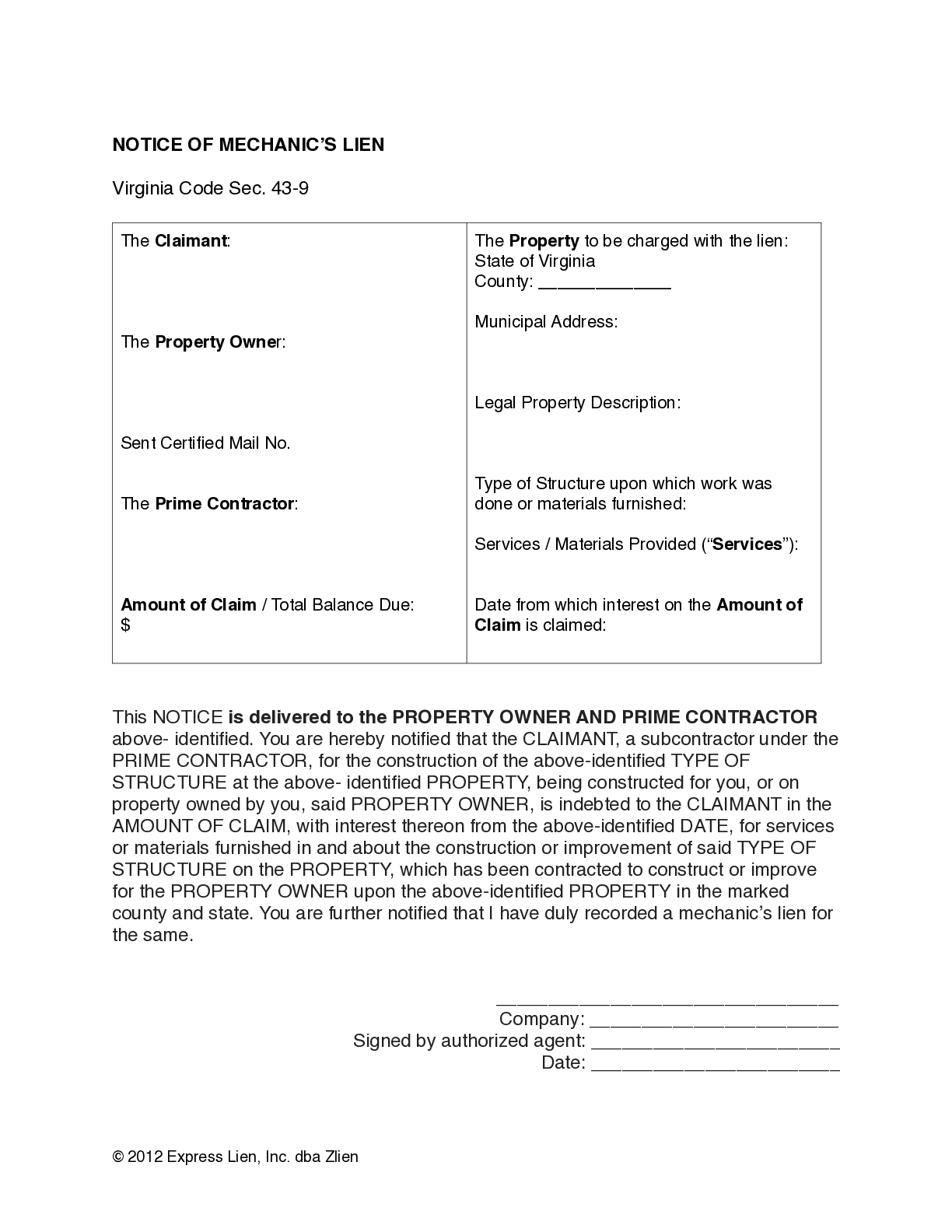 Virginia Memorandum of Lien for General Contractors Form - free from